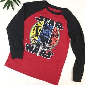Star Wars / red and black raglan shirt